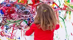 Girl finger painting